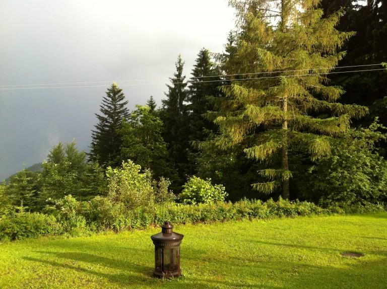 Almwiese des Almbad Huberspitz mit aufsteigendem Nebel vom Schliersee
