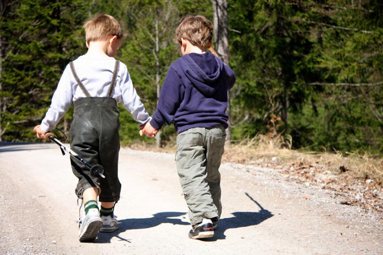 Zwei kleine Jungs gehen Hand in Hand hoch zum Almbad Huberspitz als Tagesgäste