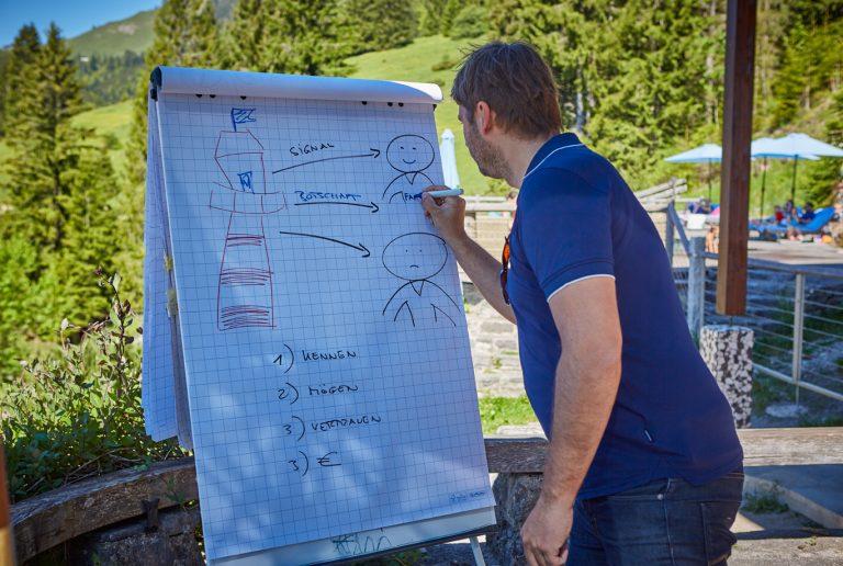 Coach beschriftet Flipchart, im Freien auf der Terrasse des Almbad Sillberghaus