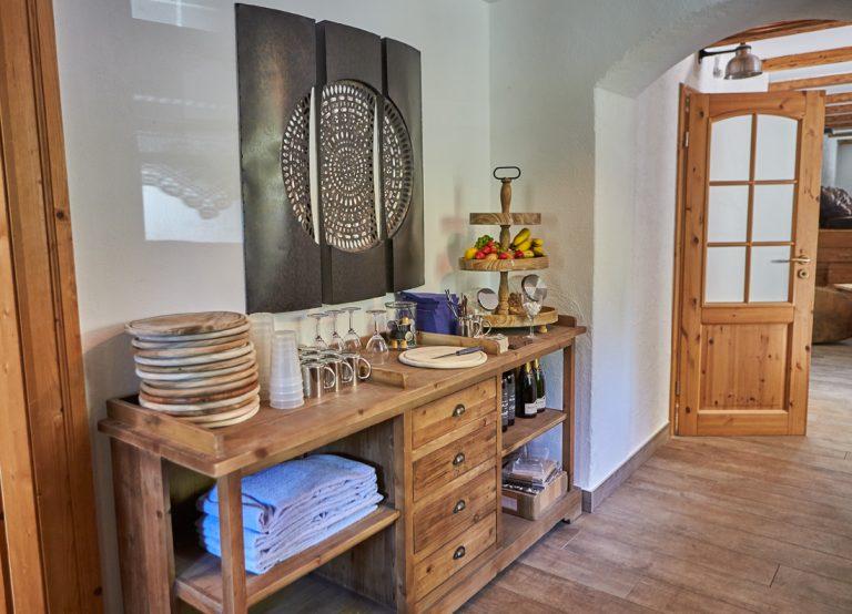 Die Küche und Obstbar des Dorfbad Tannermühl