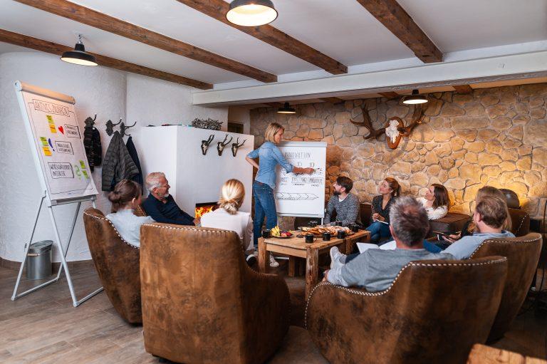 Workshop in besonderem Umfeld in gemütlichen Ledersesseln und Flipchart vorm Kamin
