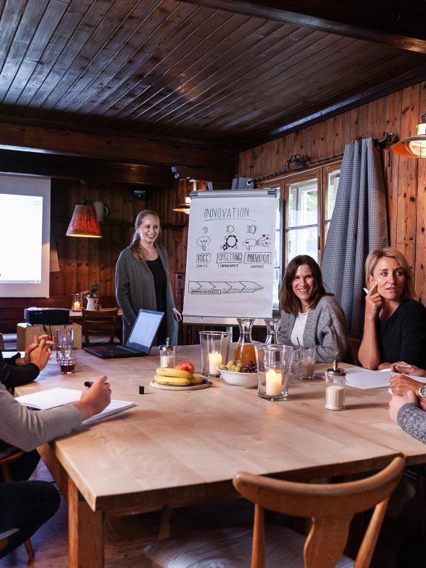 Tagungsgruppe mit Flipchart im holz-vertäfelten Kaminzimmer des Almbad Sillberghaus