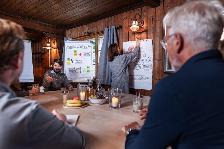 Coach klebt Flipchart an holzvertäfelte Wand als Pinnwand im Kaminzimmer des Almbad Sillberghaus