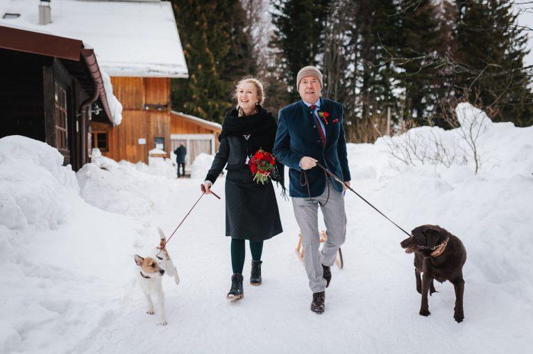 Brautpaar spaziert mit je einem Hund und Schlitten durch den Schnee am Almbad Huberspitz, dem Berg-Standesamt in 1.050m Höhe mit Blick auf die Berge